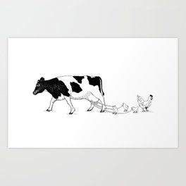 Cow vs. Chicken Art Print