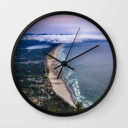 A Crescent Shaped Beach From High Atop Neahkahnie Mountain in Oswald West State Park, Oregon Wall Clock