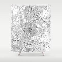 Austin White Map Shower Curtain