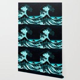 The Great Wave : Dark Teal Wallpaper