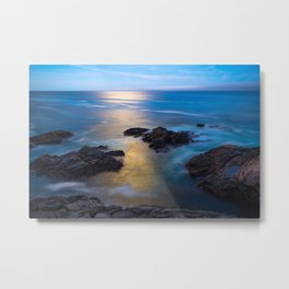 On the Rocks - Moonlight Reflects Off Pacific Ocean in California Metal Print