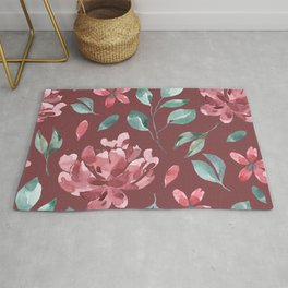Trendy Leaf and Flowers Artistic Seamless Pattern Rug