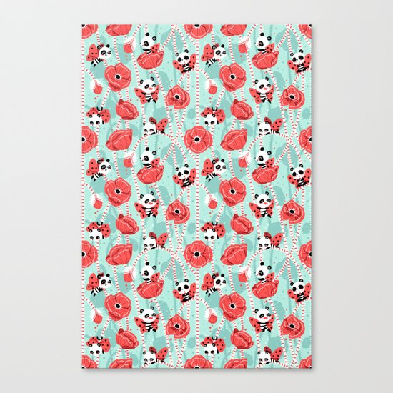 Poppy Pandas Canvas Print