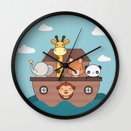 Kawaii Cute Zoo Animals On A Boat Wall Clock