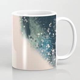 Expanse: a bold, abstract mixed media piece in blues, green, and peach Coffee Mug