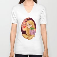 rapunzel V-neck T-shirts featuring Rapunzel by Naineuh