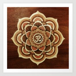 Patience and lucky of harmony mandala wood marquetry Art Print