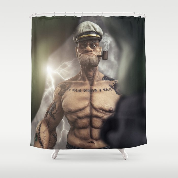 Popeye Vs Hulk Shower Curtain By Glennmeling