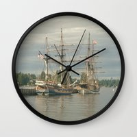ships Wall Clocks featuring Tall Ships by Vicki Dvorak