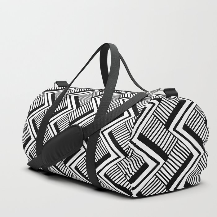 Zig-Zag Black & White Duffle Bag
