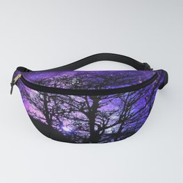 Black Trees Blue Violet Purple Space Fanny Pack