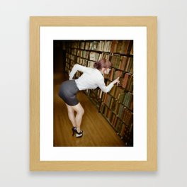 """Research"" - The Playful Pinup - Sexy Librarian Pin-up Girl by Maxwell H. Johnson Framed Art Print"