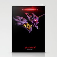 evangelion Stationery Cards featuring Evangelion Unit 01 - Rebuild of Evangelion 3.0 Movie Poster by Barrett Biggers
