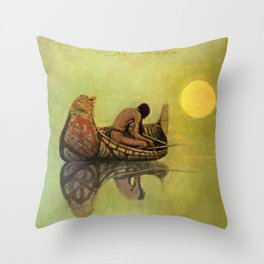 "N C Wyeth Vintage Western Painting ""Fishing Line"" Throw Pillow"
