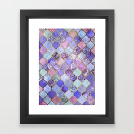 Royal Purple, Mauve & Indigo Decorative Moroccan Tile Pattern Framed Art Print