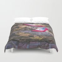 erotic Duvet Covers featuring Red Shoes by Maria Heyens