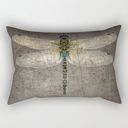 Dragonfly On Distressed Metallic Grey Background Rectangular Pillow