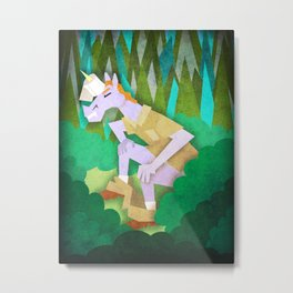 Emergency Toilet Paper Holder Unicorn Metal Print