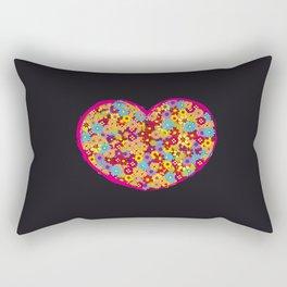 Retro Heart Flower Power Rectangular Pillow