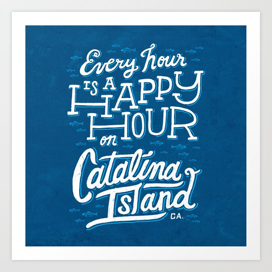 Every Hour is a Happy Hour Blue Art Print