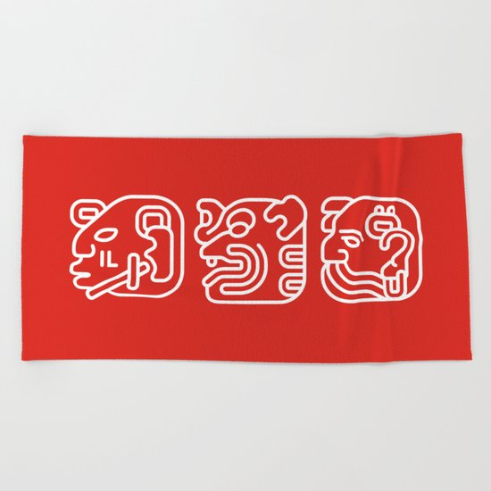 Mayan Glyphs ~ Heads Beach Towel
