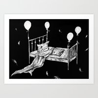 bed Art Prints featuring Bed by woman