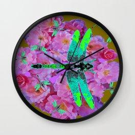 EMERALD DRAGONFLIES  PINK ROSES AVOCADO COLOR Wall Clock
