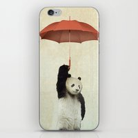 orange iPhone & iPod Skins featuring Pandachute by Vin Zzep
