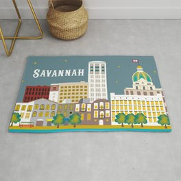 Savannah, Georgia - Skyline Illustration by Loose Petals Rug