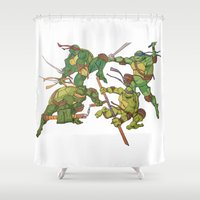 tmnt Shower Curtains featuring TMNT by Brittany Ketcham
