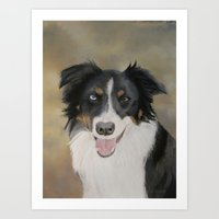 border collie Art Prints featuring Border Collie by A. Martin Pastel Art