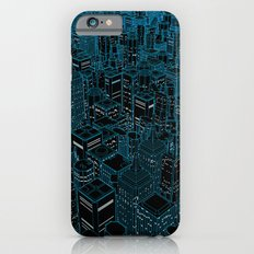 Night light city / Lineart city in blue iPhone 6 Slim Case
