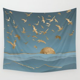 Blueprint and Gold Sea Scape Wall Tapestry
