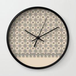 Warm Sepia Crochet Square Lace Pattern Wall Clock