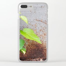 Fresh green with rusty grey Clear iPhone Case
