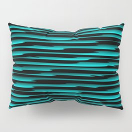 Horizontal dark curved stripes with imitation of the bark of a light blue tree trunk. Pillow Sham