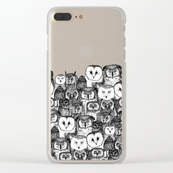 just owls black white Clear iPhone Case