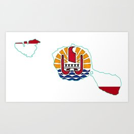 Tahiti Map with Tahitian Flag Art Print