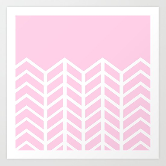 LACE CHEVRON (PINK) Art Print