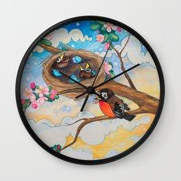 Spring: Mother Robin Wall Clock