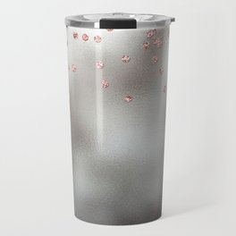 Rose gold  pink glitter confetti on silver metal background Travel Mug