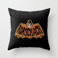 rorschach Throw Pillows featuring Rorschach by Buby87