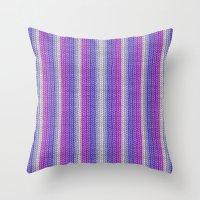knitting Throw Pillows featuring grannys knitting  by MehrFarbeimLeben