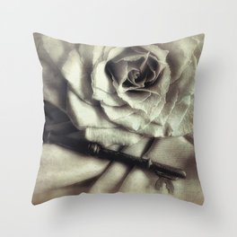 Faded Rose and Old Key Vintage Style Modern Country Cottage Art A130 Throw Pillow