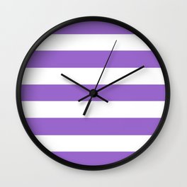 Amethyst - solid color - white stripes pattern Wall Clock