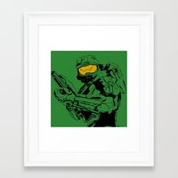 master chief Framed Art Prints featuring Halo Master Chief by Ashley Rhodes