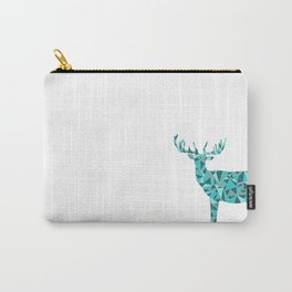 Stag - King of the Forest Geometric Digital Print Teal Carry-All Pouch