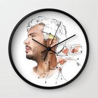 drums Wall Clocks featuring Drums by Lluna Llunera