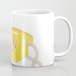Yellow Vintage Phone // Retro Telephone Illustration Coffee Mug