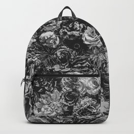 Flower Wall // Black and White Flat Floral Accent Background Jaw Dropping Decoration Backpack